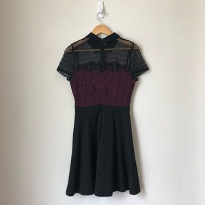 Maroon and Black Peter Pan Color Lace Dress
